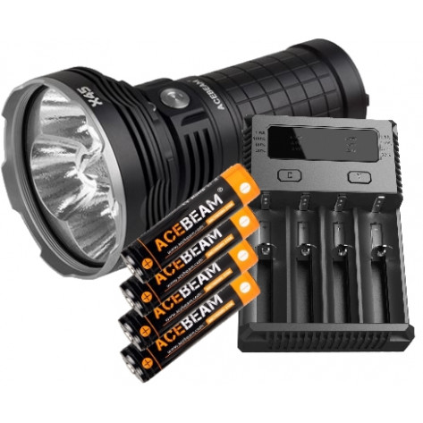 Acebeam KX45 16500 Lumen Flashlight + Nitecore Intellicharger i4 Battery Charger with Batteries