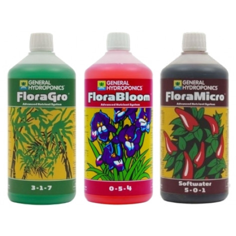 General Hydroponics Flora Series Nutrient Kit (3x 1L) - Softwater