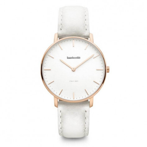 Lambretta Classico 36 Leather Women's Watch - Rose Gold White/Grey