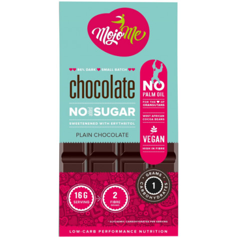 MojoMe Low-Carb Dark Plain Chocolate - 80g, 6 Pack - Front View