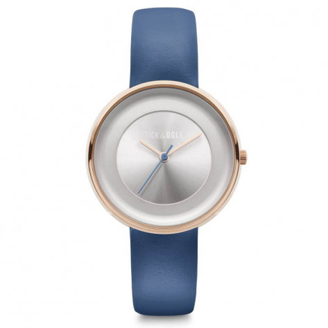 Tick and Ogle Rose Delight Leather Women's Watch - Silver/Indigo