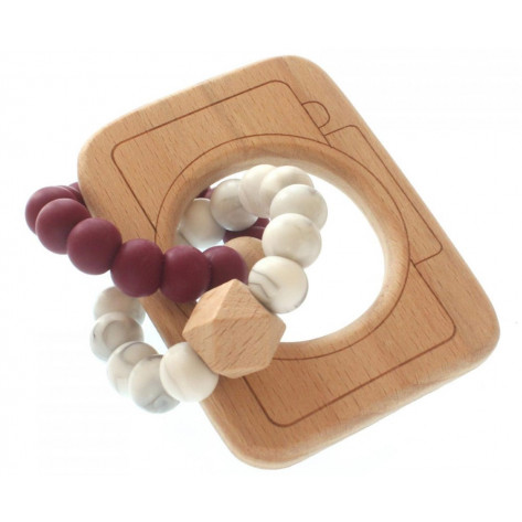 Tobbie & Co Muncher Teething Rattle - Burgundy