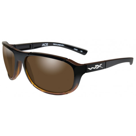 Wiley X Ace Glasses - Polarized Bronze, Gloss Tortoise Fade Frame - Front View