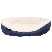 Rosewood 40 Winks Pet Cable Knit Oval Bed - Medium, Navy Blue