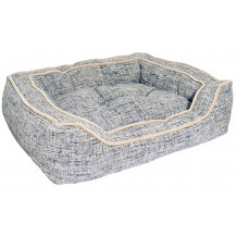 Rosewood 40 Winks Luxury Square Pet Bed - Medium, Slate and Oatmeal