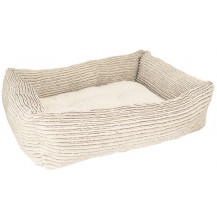 Rosewood 40 Winks Pet Jumbo Cord/Teddy Square Bed - Medium, Beige