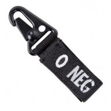 Condor Blood Type Key Chain with Snaphook - O Negative, Black