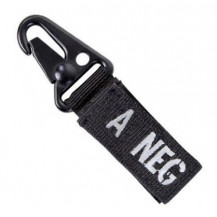 Condor Blood Type Key Chain with Snaphook - A Negative, Black