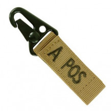 Condor Blood Type Key Chain with Snaphook - A Positive, Coyote Brown