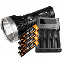 Acebeam K65 6200 Lumen Flashlight + Nitecore Intellicharger i4 Battery Charger with Batteries
