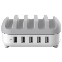 Orico 5 Port Tablet/Smartphone USB Charging Station - 40W, White