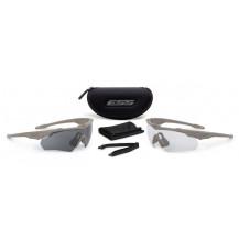 ESS Crossblade 2X Ballistic Glasses Kit - Terrain Tan Frame, Smoke Grey/ Clear Lens