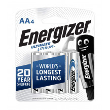 Energizer XL91BP4 1.5v Lithium AA Batteries - Pack of 4