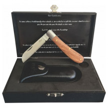 Enlan Biltong Pro Folding Knife - With Leather Holster & Wood Box