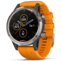 Garmin Fenix 5 Plus Sapphire Men's Watch - Titanium/Orange