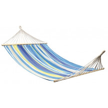 Oztrail Anywhere Hammock with Timber Rails - Double, Multi-Coloured Blue