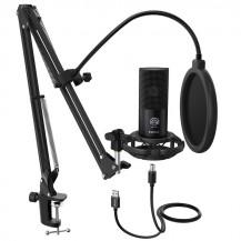 Fifine Cardioid Condenser Microphone - Black, USB, Arm Stand
