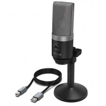 Fifine Cardioid Condenser Microphone - Black, USB, Stand