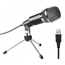 Fifine Cardioid Condenser Microphone - Black, USB, Tripod