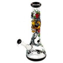 Grace Glass Art Series Bong - Skulls n' Roses