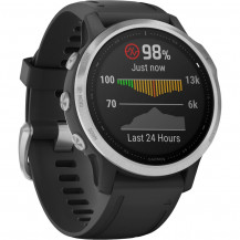 Garmin Fenix 6S Multisport GPS Watch - Silver/Black - Front View