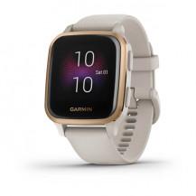 Garmin Venu Sq Music Smart Watch - White and Rose Gold Bezel