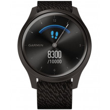 Garmin Vivomove Style Hybrid Smartwatch - Black Pepper/Slate - Front View