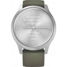 Garmin Vivomove Style Hybrid Smartwatch - Moss Green/Silver - Front View