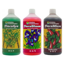 General Hydroponics Flora Series Nutrient Kit (3x 500ml) - Soft Water