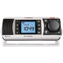 GME GR300BTW AM/FM Marine Radio - w/Bluetooth, White - Front View
