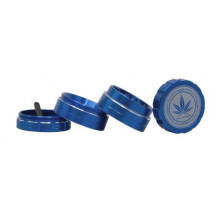 Grace Glass Amsterdam Grinder - 4 Part, Blue - Please Note: Image on the grinder may vary