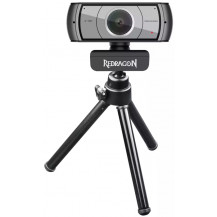 Redragon Apex 1080P Webcam - Black, Tripod Stand