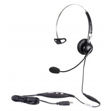 Calltel H650NC Mono-Ear Noise-Cancelling Headset - Quick Disconnect, USB Sound Card