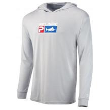 Pelagic Aquatek Deluxe Hoodie Fishing Shirt - Light Grey