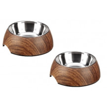 Hunter Pets Dog/Cat Double Feeder Bowl - Oak Set, 160ml