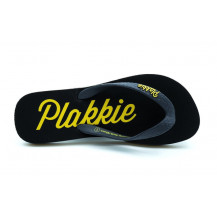 Veldskoen Plakkie Ushaka Flip Flop - Charcoal and Yellow, UK Size 5