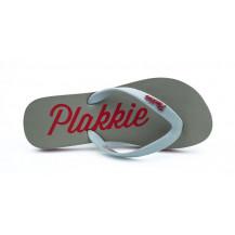 Veldskoen Plakkie Clifton Flip Flop - Grey and Red, UK Size 9