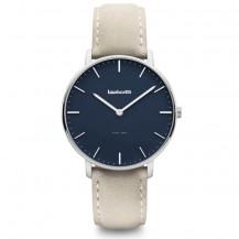 Lambretta Classico 40 Leather Men's Watch - Silver Blue/Suede Grey