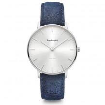 Lambretta Classico 40 Leather Men's Watch - Silver/Destresso Blue