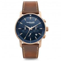 Lambretta Imola 44 Leather Men's Watch - Rose Gold Blue/Brown