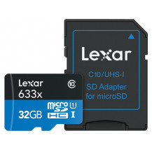 Lexar High-Performance UHS-I microSDHC Memory Card with SD Adapter - 32GB