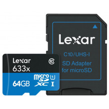 Lexar High-Performance UHS-I microSDHC Memory Card with SD Adapter - 64GB