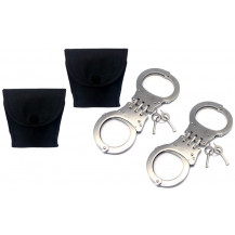 Liquid Bullet Handcuffs with Pouch - Silver x2