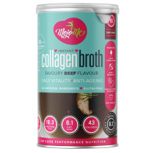 MojoMe Low-Carb Instant Collagen Bone Broth - Savoury  Beef Flavour, 200g, 6 Pack - Front View