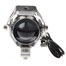 Lumeno U5 Motorcycle Spot Light - 3000 Lumen / 200m, Silver - Front