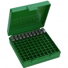 "MTM 9 mm Pistol Box - 100 Rounds, 1.2"" OAL"