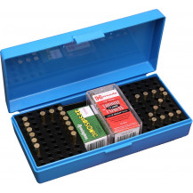 MTM Rimfire Ammunition Case - 100 Rounds, .22 LR/WM, Blue, NO Ammo Included