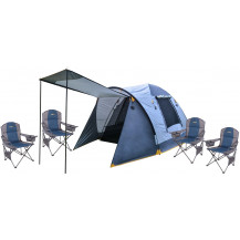 Oztrail Camping Combo - Oztrail Genesis 4V Dome Tent + Oztrail Sovereign Cooler Armchair x4