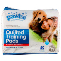Pawise Quilted Training Pads - 56x56cm, 50/bag