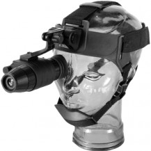 Pulsar Challenger GS 1x20 Night Vision Monocular with Head Mount Kit - Head Mount In Use
